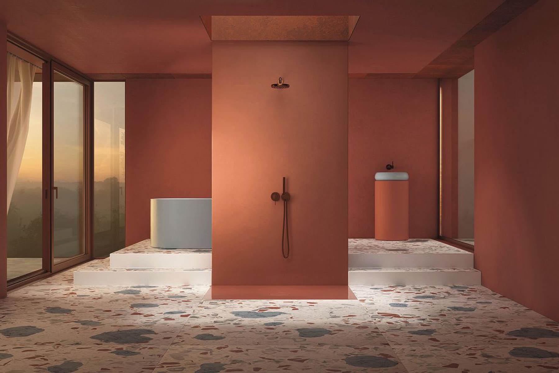 Colección platos de ducha y griferías minimalistas Air de Bette con esterillas anti-ruido