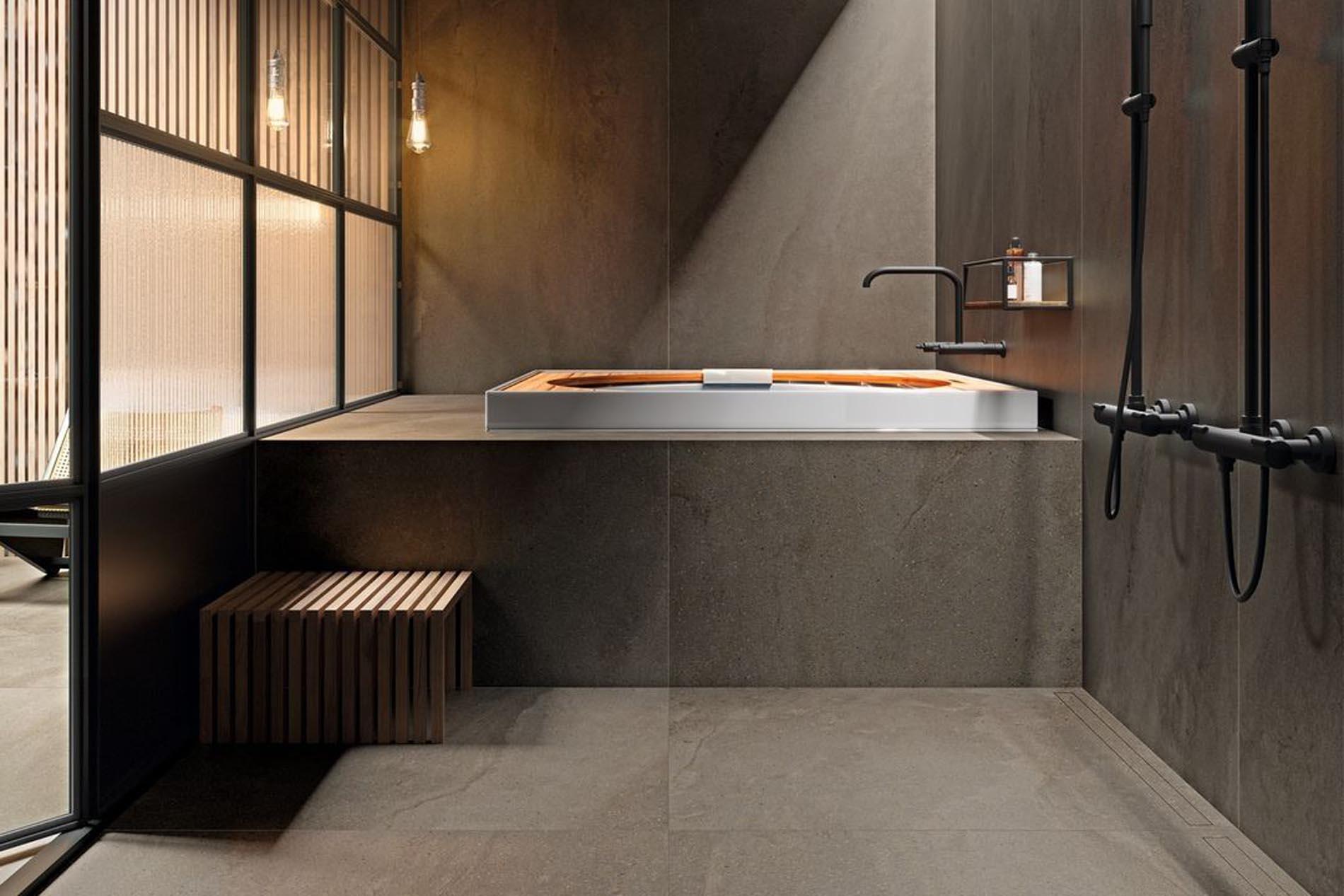 Porcelánico de gran formato y fino espesor ideal tanto para pavimentos como para revestimientos